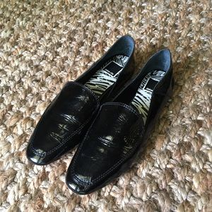 Dolce Vita Black Crinkle Patent Leather Loafers